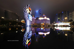 Macau Casino World (frozenjester) Tags: macau china casino reflection longexposure grandlisboa wynn larc mgmgrand frozenjester 1424f28 architecture building night nikon nikkor d700 fx fullframe gamblingcapitalofasia symmetry casinolisboa macao jesteralcaraz
