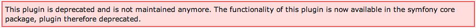 Plugin deprecated message