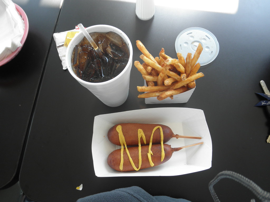 Unhealthy Corn dogs, Coke, and Fries