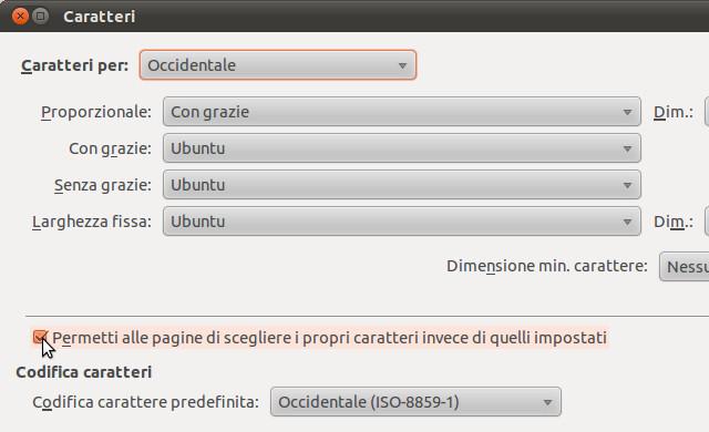 Figura 2 - Forzare la sostituzione dei font di caratteri della pagine web con l'Ubuntu font family.
