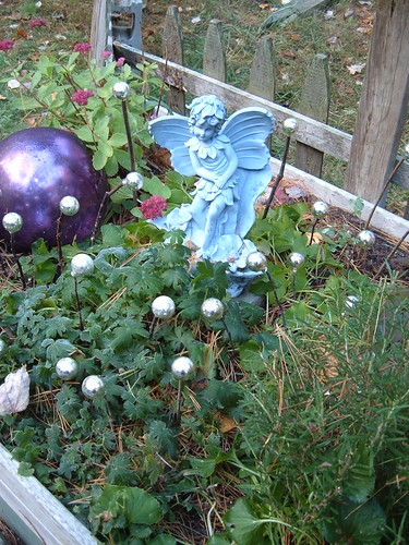 Fairy balls in planter boxes...a little bling for when all the plants die back for the season