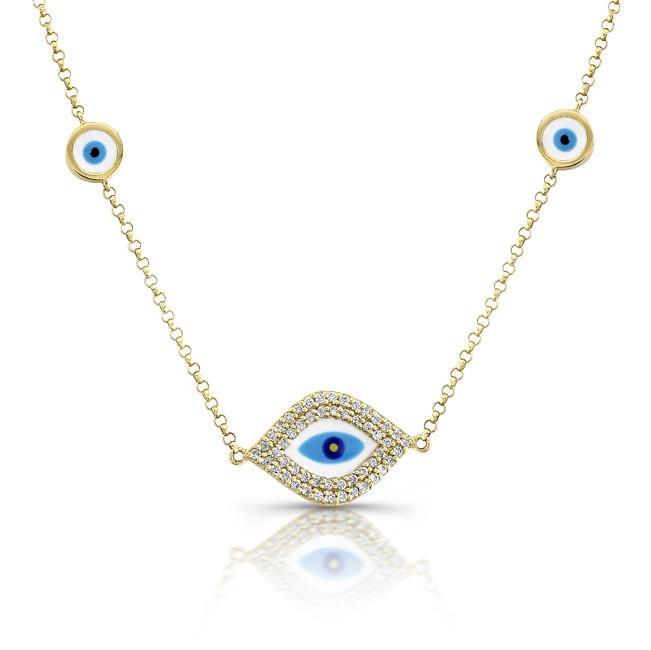 Evil Eye Diamond Necklace - 14k Yellow Gold