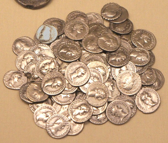 Snettisham Norfolk jeweller's hoard 154AD mixed metal and coins. 83 silver denarii mostly Imperial, C.Naevius Balbus 79BC and another worn RR at top