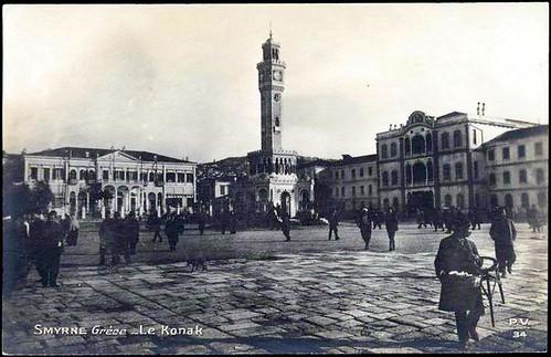 Karpostallarda yangından önce İzmir, Konak