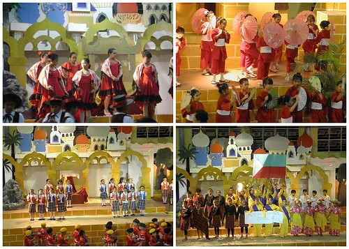 grade-school-national-dance-presentation, UN-costumes, Japan-dance, Scotland-dance, Spain-dance-costume, Philippines-national-dance-costume