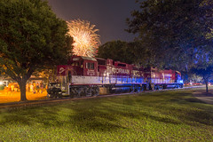 Fireworks on the Water (ajketh) Tags: rjcs rj corman carolina lines freight train power railroad fireworks fourth july independence day 4th firework emd gp383 gp38 3812 7710 night exposure riverfest santee cooper coal spur sc south conway