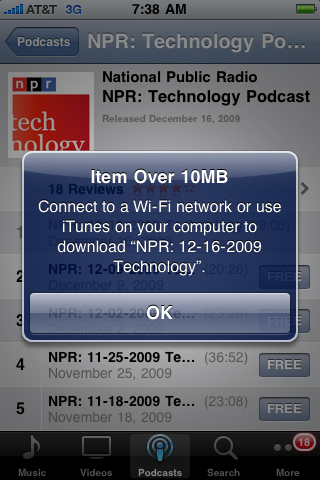 Podcast over 10 MB won't download over 3G