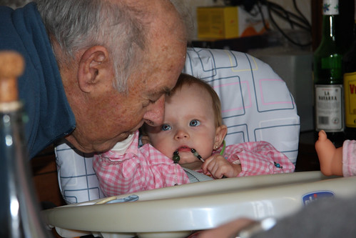 Caressing Great-Grandpa