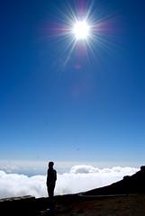(ilana emer) Tags: blue boy sky sun silhouette clouds volcano hawaii maui crater