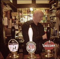 Grappenhall Parr Arms Pub (ParrArmsPunter) Tags: uk england house man public bar warrington pub village arms cheshire bald brewery fred witches pint unicorn pulling xb camra baldy parr frederick bloke hartleys 2010 barman robinsons punter wags grappenhall parrarmspunter wagstowitches
