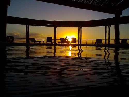 Sunset over the pool in Celestún, Yucatán