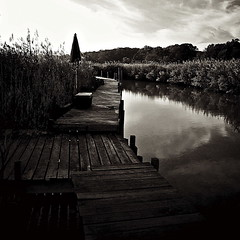 Private Dock In Deale (Baab1) Tags: blackandwhite bw rot monochrome sepia clouds docks reflections boats decay maryland textures wetlands umbrellas tones oldwood chesapeakebay southernmaryland waterreeds decayedwood watergrasses annearundelcountymaryland dealemaryland