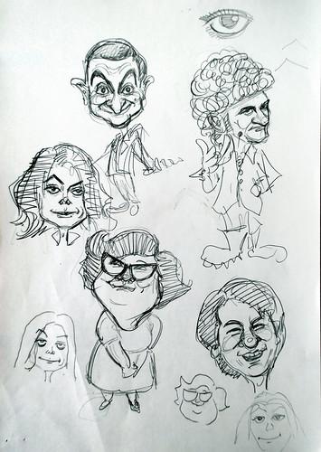 Doodling of Mr Bean Michael Jackson Phua Chu Kang Lydia Sum Jackie Chan