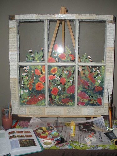 painting on salvaged farm window