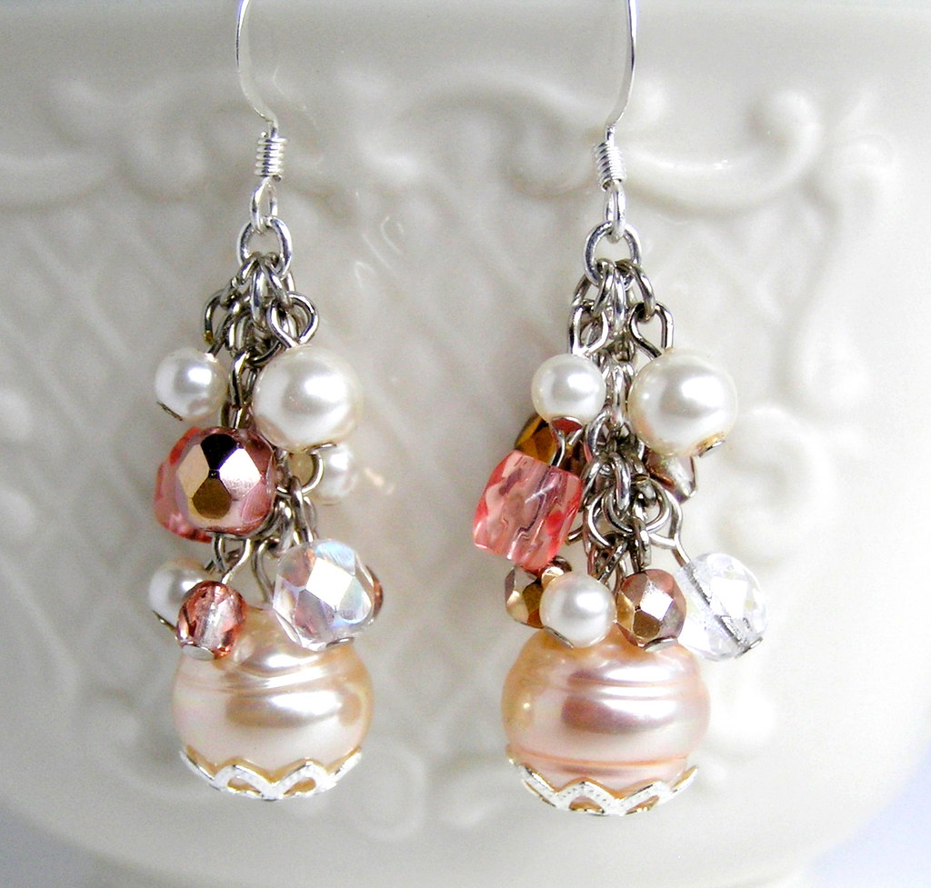 Pink Champagne Bridal  Earrings