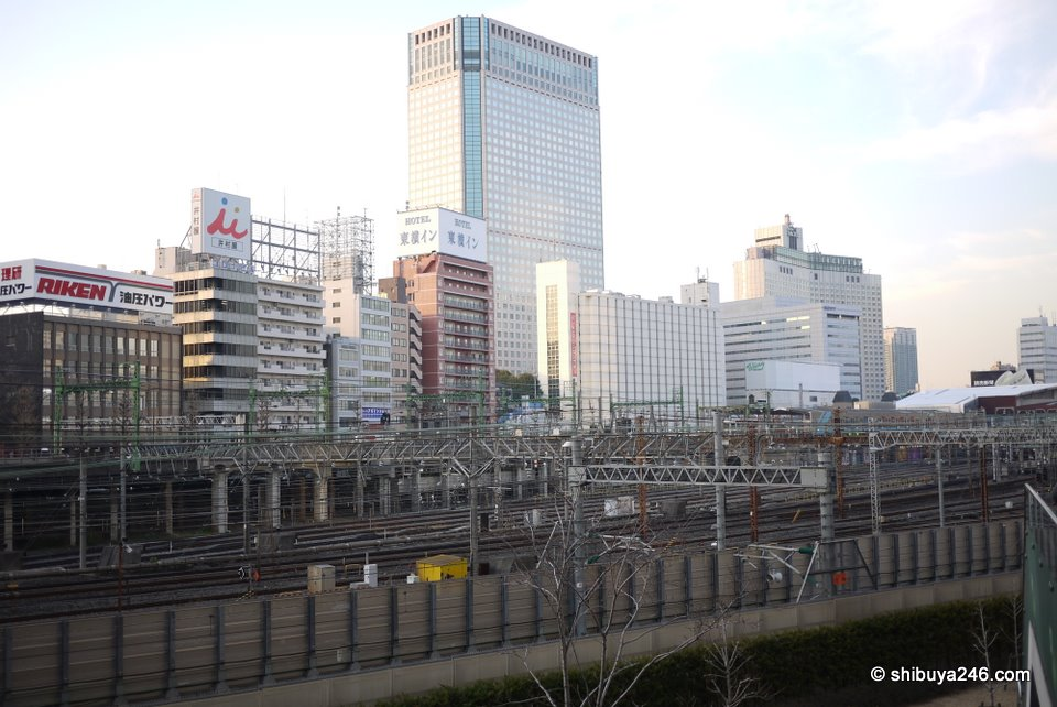 A look out across the railway lines back towards Shinagawa Station and the Takanawa Prince Hotel.