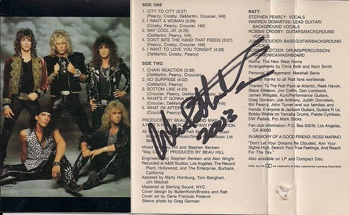 1988 Ratt Reach For The Sky Cassette J-Card (Autographed by Warren DeMartini)