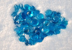 Blue Heart (deborahmj2) Tags: blue snow cold love frozen blueglass coldheart featuredonadidap