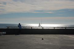 Sailboat and Fisherman (loudguitars) Tags: ocean venice beach sailboat fisherman pacific venicepier marvinbraudebiketrail
