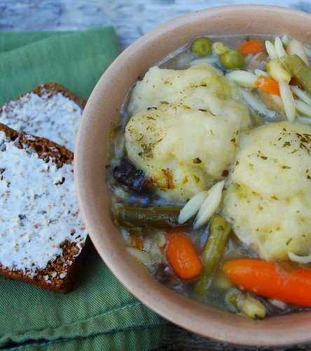Vegetable Leek Soup with dumplings bread split
