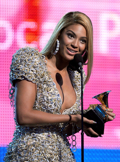 Beyonce Knowles receiving the Grammy Award