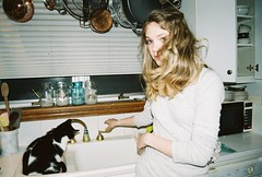 R1- 7 (Katie.Jensen.) Tags: winter kitchen glass cat rust eva pretty sink kitty spoon suprised blonde blinds wrist cupboard jars whire