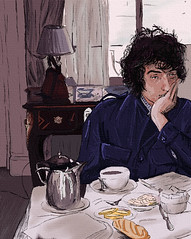 Bob Dylan Breakfast (James Christopher Halstead) Tags: old blue portrait musician music usa man black dylan celebrity art face fashion rock illustration digital dark painting hair james us sketch graphic guitar famous digitalart young christopher bob style icon pop canvas american bobdylan messy hero oldphoto lonely 1960s busker 1970s effect unhappy rockandroll airbrush halstead styleicon painter11 fashonicon jameschristopherhalstead