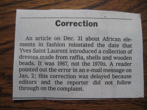 NY Times correction