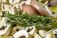 quartered mushrooms, halved shallots, rosemary sprigs