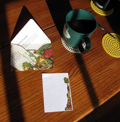 Sunny envelope-making, with coffee