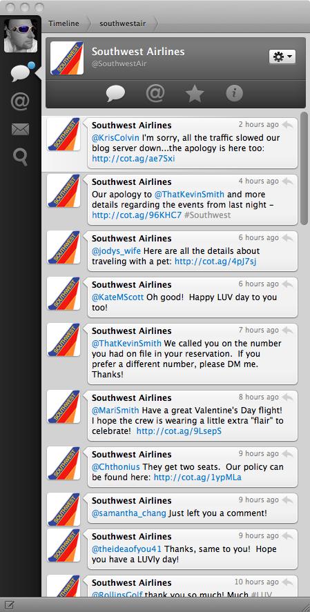 SouthwestAir twitter feed