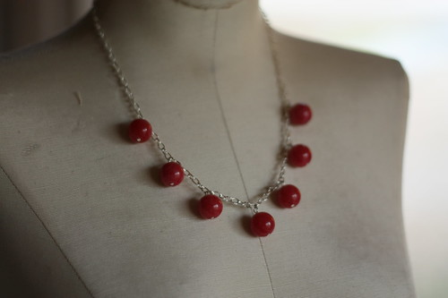 rhodonite rounds on sterling chain