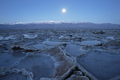 Badwater Unerwater Moonset, Badwater Salt Flats, Death Valley, CA (D Breezy - davidthompsonphotography.com) Tags: california longexposure winter snow mountains nature water lines sunrise canon landscape desert mud earth salt fullmoon textures deathvalley bluehour cracks saltflats moonset mojavedesert badwater deathvalleynationalpark telescopepeak belowsealevel 1740f4l dvnp nofilters crackedearth 1740mml timberlandboots 5dmarkii canon5dmarkii