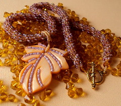 Autumn in New England (fivefootfury) Tags: autumn necklace leaf fallcolors newengland jewelry autumnleaves fallfoliage beaded indiansummer beadwork beadedrope fivefootfury