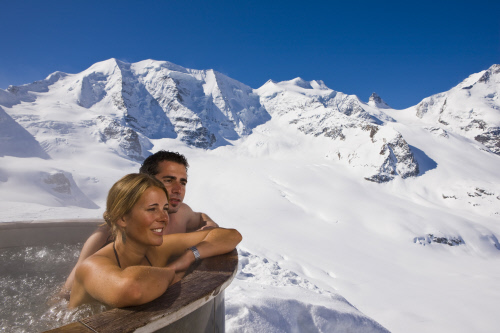 Sprudelbad Diavolezza at 3000m, Engadin-St. Moritz