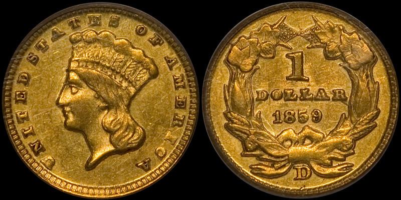 1859-D Gold $1.00 PCGS AU55 CAC
