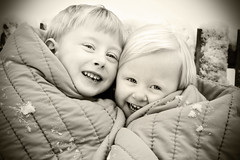 Best Friends (Suzanne Pyle Photography) Tags: boy blackandwhite snow girl sister brother britton bria blackwhitephotos suzannemarie suzannepyle