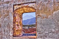 Volcano Fuego - Antigua Guatemala (Mona Hura) Tags: de volcano la guatemala iglesia merced an antigua opening through cloister fuego seen ruined 7996x