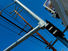 Sky Divided (lefeber) Tags: california street wood city sky urban losangeles angles pole sidewalk wires telephonepole staples telephonewires crooked marinadelrey ironworkscollectivecorporation