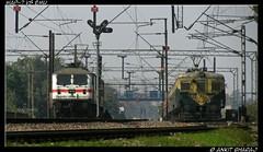 WAP-7 vs EMU (Ankit Bharaj) Tags: new bridge india station train three dc delhi indian tracks ito emu series locomotive motor gto mast phase signal induction ankit catenary pantograph ohe railfanning tilak irfca thyristor bharaj wap4 eclectric wap7 railwys