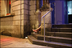 02:57 legs - Cardiff (Maciej Dakowicz) Tags: uk greatbritain woman feet girl wales night nightout steps cardiff barefoot stmarystreet
