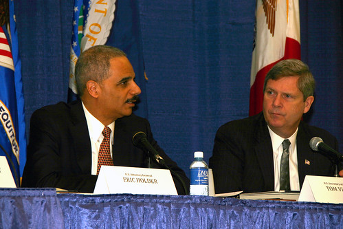 U.S. Attorney General Eric Holder, and U.S. Department of Agriculture Secretary, Tom Vilsack at the USDA/DOJ Workshop on competition issues.