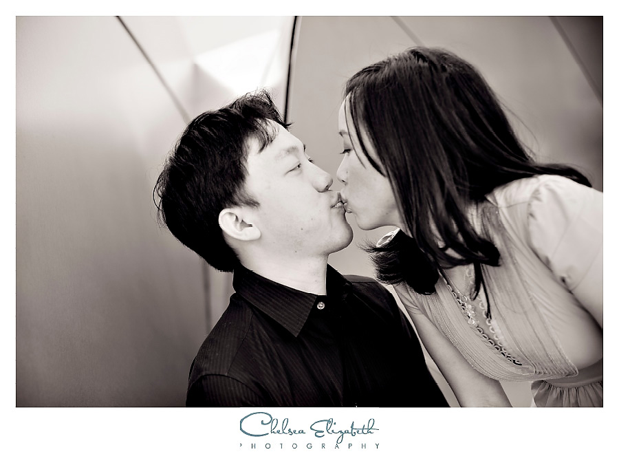 walt disney concert hall black and white engagement portrait