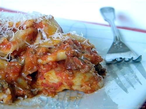 Baked Ravioli w/ Meat Sauce