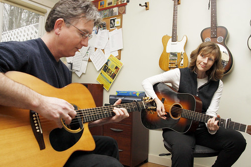 February 16, 2010 - Jim Henry and Tracy Grammer play together in their home in Shutesbury.