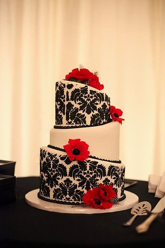 damask wedding cake with fresh flowers by Retro Bakery in Las Vegas