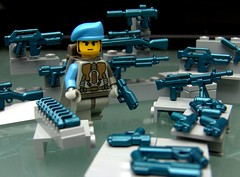 "Cobalt Clutter (Joriel ""Joz"" Jimenez) Tags: blue soldier lego rack accessories minifigs armory beret clutter weapons armoury reference peacekeepers cobalt inanimateobjects favorites15 favorites20 views1000 mediumblue tablescrap brickarms brickforge cpkf"