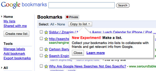 Share Google Bookmarks