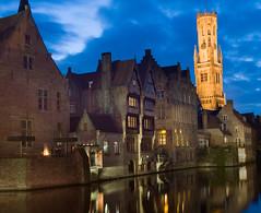 Bruges (tramsteer) Tags: longexposure water night buildings dark canal lowlight nikon nocturnal belgium brugge nighttime bruges archetecture nocturne belfort flanders nocturn d300 tramsteer