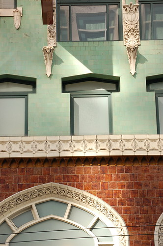 bricks, seafoam green and windows